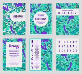 Set of Biology cards. Science templates and banners. Poster for book, print or web site. Biochemistry Research. Medicine in school. Education and Science. engraved hand drawn in sketch vintage style.