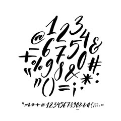 Collection of hand drawn numbers and orthographic symbols. Modern brush calligraphy.