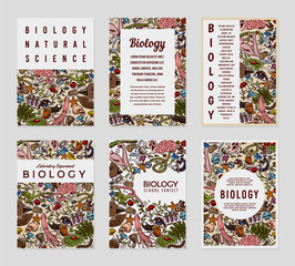 Biology cards. Science templates and banners. Poster for book, print or web site. Biochemistry Research. Medicine in school. Education and Science. engraved hand drawn in old sketch vintage style.