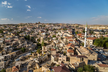 View to a town with a mosque. Ortahisar, Turkey