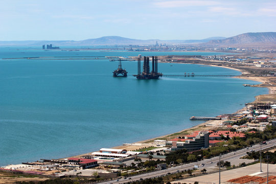 Oil platform off the Caspian sea coast near Baku, Azerbaijan