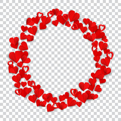 Big ring consisting of many small red paper hearts on transparent background