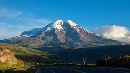 Panoramic view of the Chimborazo volcano in a day with clear blue sky. Chimborazo is the highest mountain in Ecuador with a peak elevation of 6,263 m. It is the highest peak near the equator.