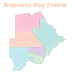 Botswana map. Hand-drawn country. Cool sketchy Botswana map with regions. Vector illustration.