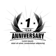 1 year design template. Anniversary vector and illustration template.