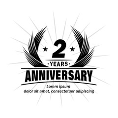 2 years design template. Anniversary vector and illustration template.