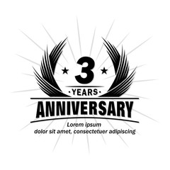 3 years design template. Anniversary vector and illustration template.