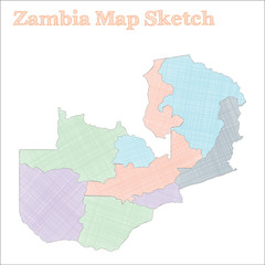 Zambia map. Hand-drawn country. Fantastic sketchy Zambia map with regions. Vector illustration.