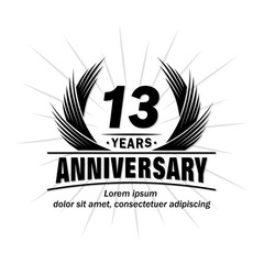 13 years design template. Anniversary vector and illustration template.