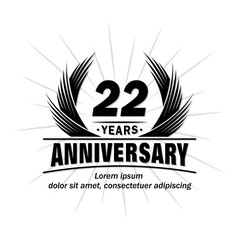 22 years design template. Anniversary vector and illustration template.