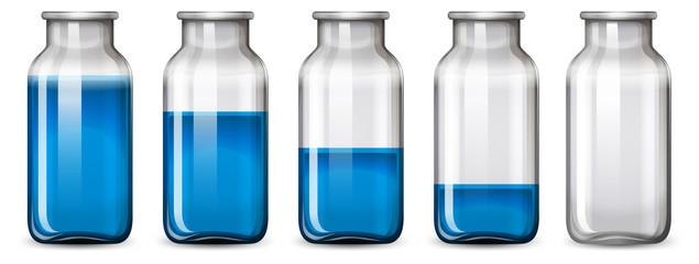 Set of blue bottle