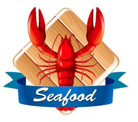 Lobster on seafood icon