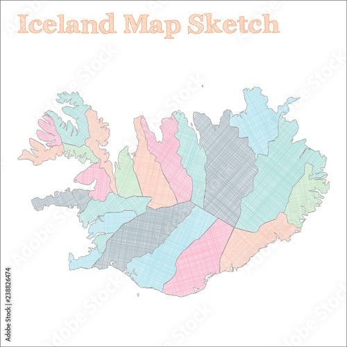 Iceland map. Hand-drawn country. Marvelous sketchy Iceland map with ...