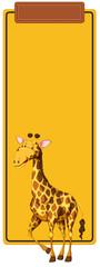 Giraffe on yellow border