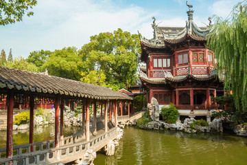 Bridge leading to building in Yu Yuan Garden, Shanghai China.