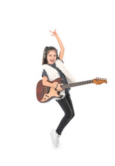 Emotional little girl with guitar, isolated on white