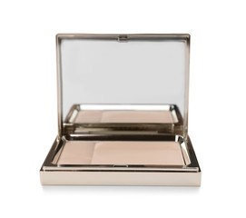 Face powder with mirror on white background. Cosmetic product