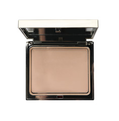 Face powder with mirror on white background, top view. Cosmetic product
