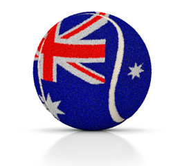 Tennis ball with the texture of the flag of Australia, tennis ball of Australia, 3D illustration