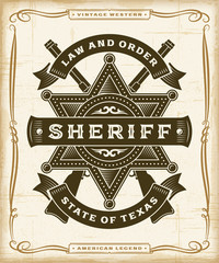 Vintage Western Sheriff Label Graphics. Editable EPS10 vector illustration in woodcut style.