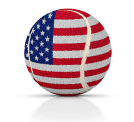 Tennis ball with USA flag texture, USA tennis ball, 3D illustration