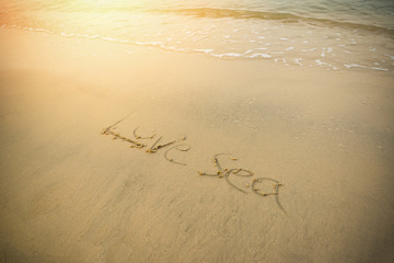 the beach sea texture text on sand beach written words Love sea on sand