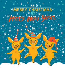 Christmas card with three yellow pigs. Very cute pigs in holiday hats rejoice in falling snow. Cute illustration with cartoon pigs. Merry Christmas and Happy New Year! Year of the Pig 2019.