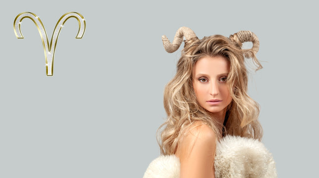 Astrology and horoscope. Aries Zodiac Sign, beautiful woman with horns
