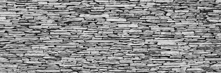 black & white stone wall panorama