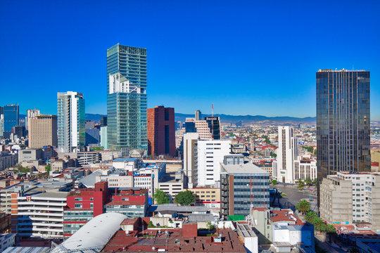 Mexico City, Mexico-10 December, 2018: Mexico City Financial center district close to Paseo De Reforma