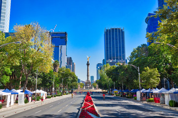 Mexico City, Mexico-5 December, 2018: One of the main Mexico City Streets Paseo De La Reforma, a place of historic landmarks and financial office buildings