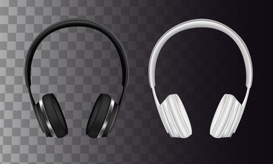 Vector set of wireless black and white headphones