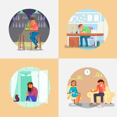 People with depression vector flat style illustration