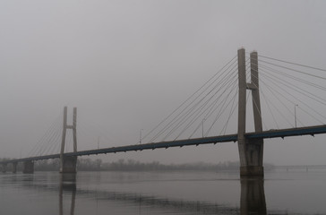 Quincy Illinois Bayview Bridge in Fog over Mississippi River