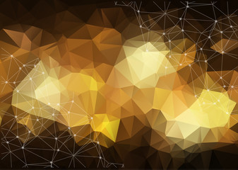 Gold Geometric Low Poly Vector Background. Shiny Metallic Faceted Pattern. Golden Light Triangle Sparkles in the Dark.