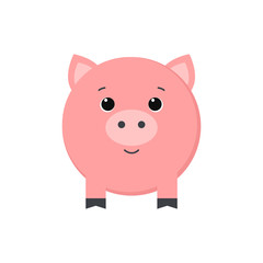 Cute piggy isolated on white background. Vector illustration.
