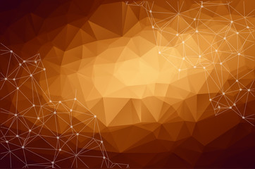 Abstract polygonal Dark Brown background. Triangular tech background with connections. Vector illustration.