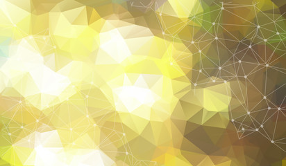 Abstract vector space Yellow background. Chaotically connected points and polygons flying in space. Flying debris. Futuristic technology style. Elegant background for business presentations.