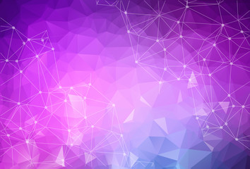 Abstract low poly Purple Blue technology vector background. Connection structure. Vector data science background. Polygonal vector background. Molecule And Communication Background.
