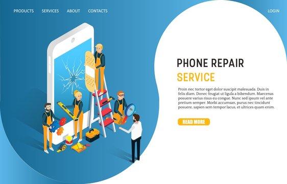 Phone repair service landing page website vector template