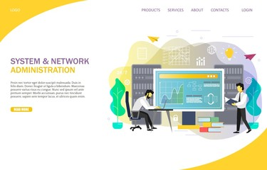 System administrator landing page website vector template