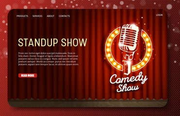 Standup show landing page website vector template