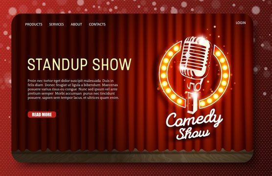 Standup show landing page website vector template