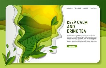 Vector paper cut green tea landing page website template