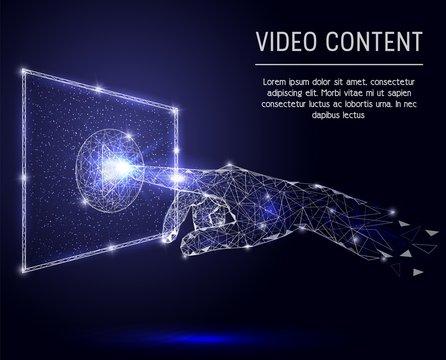 Video content vector polygonal art style illustration