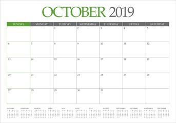 October 2019 monthly calendar vector illustration