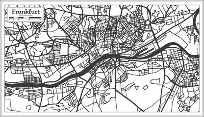 Frankfurt Germany City Map in Retro Style. Outline Map.
