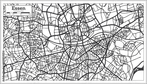 Essen Germany City Map In Retro Style Outline Map Stock Image And