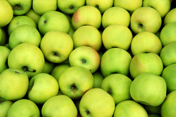 green apples on black background