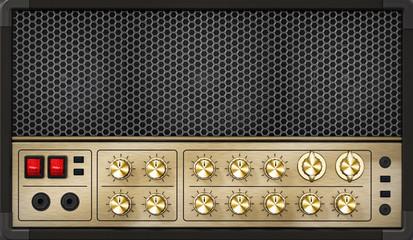 Generic vintage feel guitar amplifier. 3D illustration